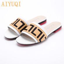 Женские шлепанцы AIYUQI, летние шлепанцы из натуральной кожи на плоской подошве, повседневные уличные Шлепанцы из мофера, женская обувь, 2020(Китай)