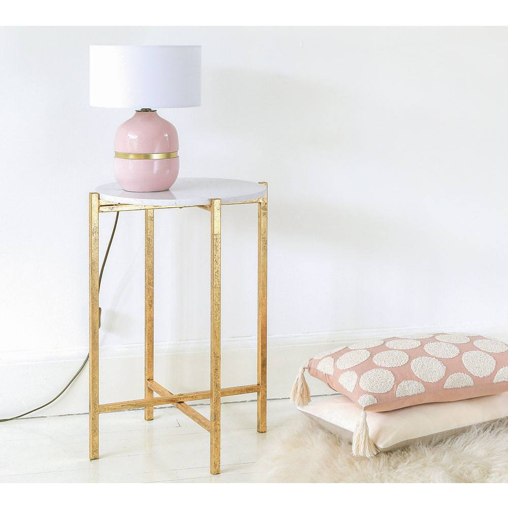 - Elegant Marble And Gold Finish Legs Home Accent Side Table - Buy