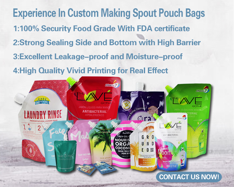 Reusable liquid shampoo aluminum foil packing sachet printing / Custom aluminum foil spout pouch for liquid shampoo
