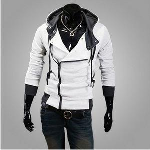 Large Size Trade Hot Sale Men's Hooded Sweater Coat Fashion Cardigan Slim Male Zipper Sweater Diagonal Zipper Hooded Sweater