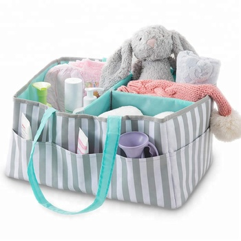 Portable Nursery Storage Basket Changing Table Organizer Baby Diaper Caddy with Changing Pad