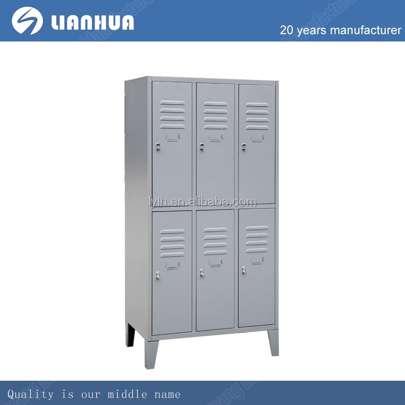 Hight quality thick 6 door metal kd locker with foot