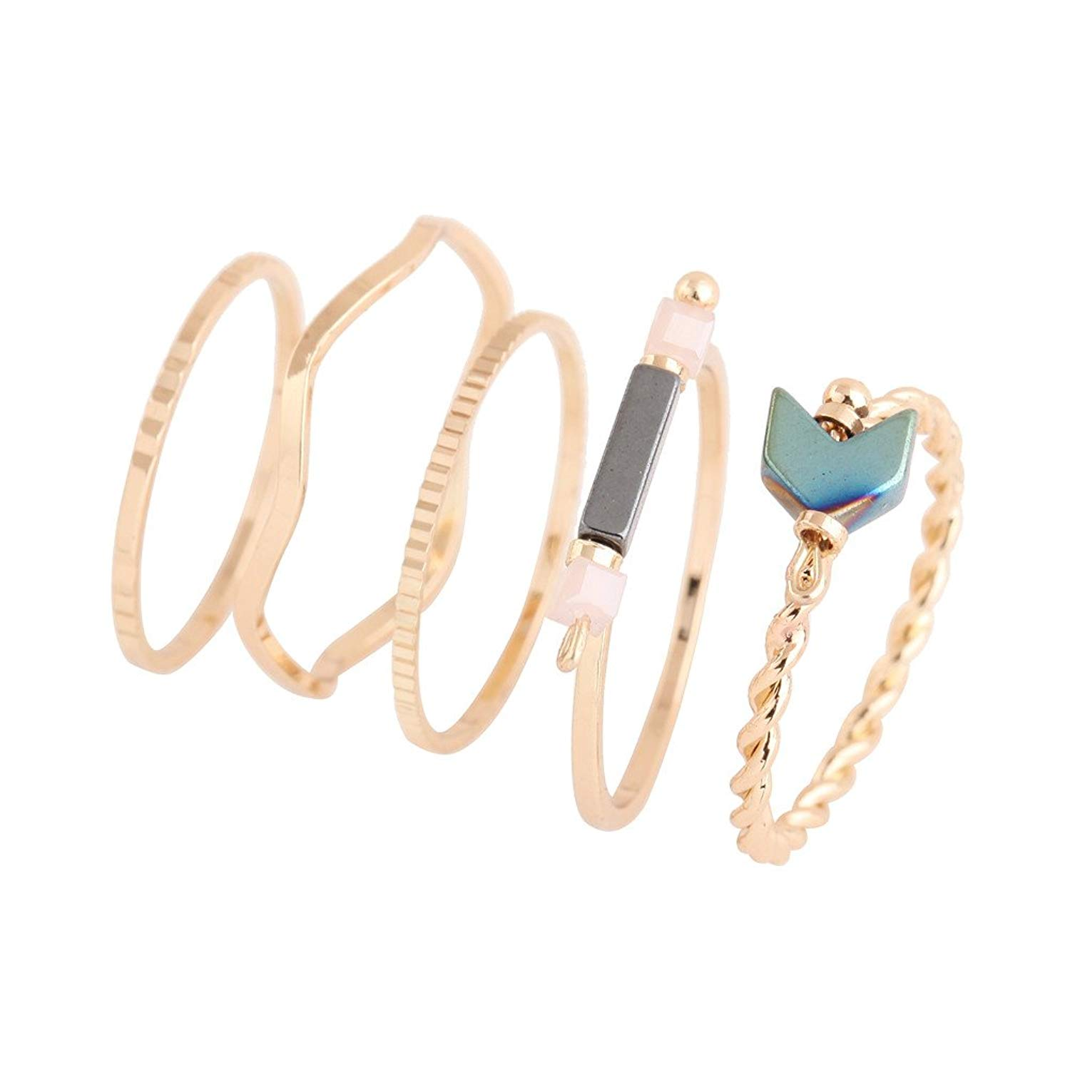 TUSHUO Fascinating Geometric Figures Ring Simple Gold Plated Hollow Petal Opening Ring