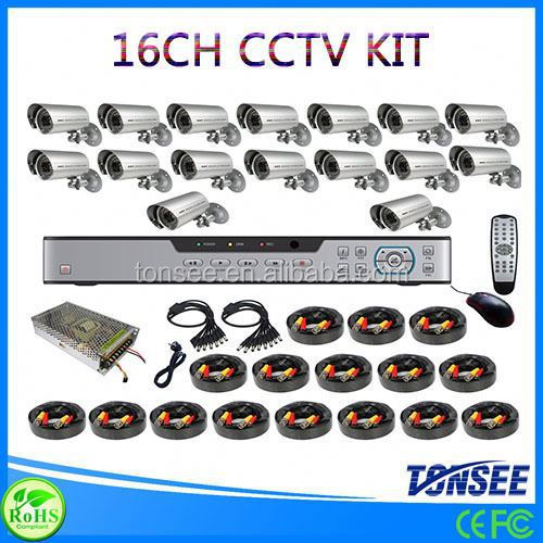 bunker hill security camera extension cable,16CH bullet outdoor cctv camera dvr kit,surveillance nvr kits