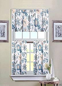 Ultra Luxurious Palm Beach Floral Shabby Kitchen Curtain Tier & Valance Set by GoodGram