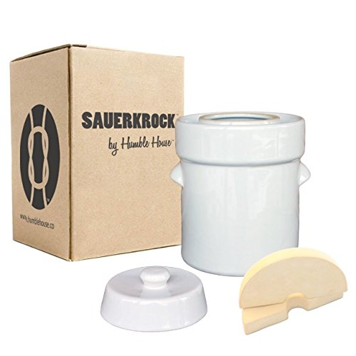 "Humble House Fermentation Crock German-Style SAUERKROCK ""Family"" 10 Liter (2.6 Gallon) Water Sealed Jar, Lid and Weights in Natural White - For Fermenting Sauerkaut, Kimchi and Pickles!"