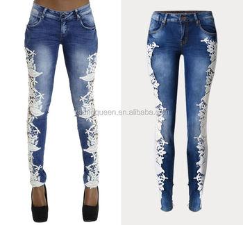 10b3a46b619c5 RM1601 damas jeans diseño de costura de encaje de las mujeres pantalones  vaqueros
