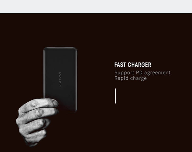 Recci Portable Slim RoHS USB-C PD QC3.0 Power Bank Fast Charging 10000mAh for Mobile Phone