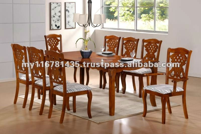 Juego de comedor de madera con dise o tallado j25 1 8 for Muebles de sala tallados en madera