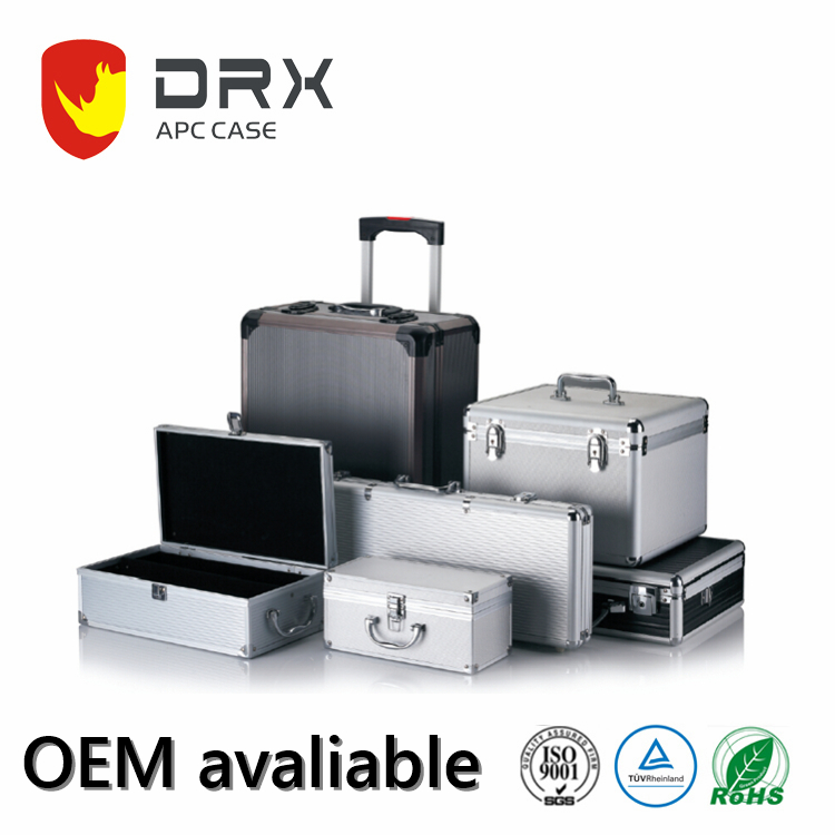 Black Aluminum Hard Briefcase Metal Tool Boxes Carrying Case for Tools with Multiple Rivet Reinforcement APC007