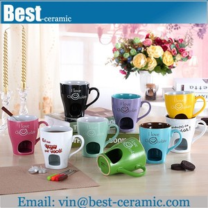 hot sale chocolate ceramic cheese fondue mug