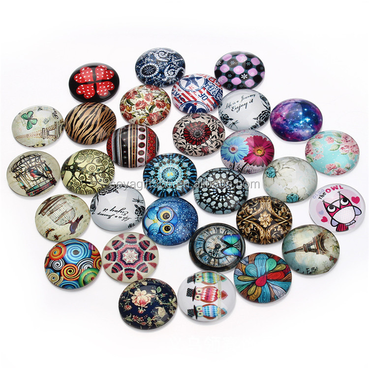 Time Gem Various Pattern 20mm Cartton Round-shaped Glass Diy Accessories