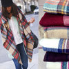 Fashional knitted blanket oversized wrap camel palid tartan blanket scarf