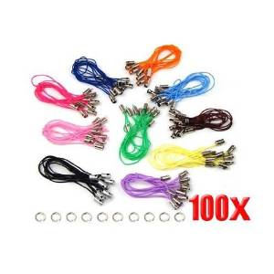 TOOGOO(R) 100 Assorted Coloured Mobile Phone Strap String with 7mm Jump Rings --- Black / White / Pink / Dark purple / Light purple / Blue / Green / Red / Orange / Brown