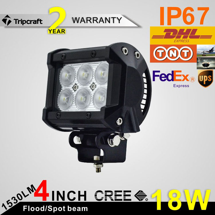 "4"" 9-32v <strong>crees</strong> 18W led light bar for atv,suv,trucks offroad driving light car led light bar"