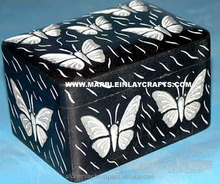 Mármol negro natural inlay joyería/trinket seguro/regalo/home caja decorativa