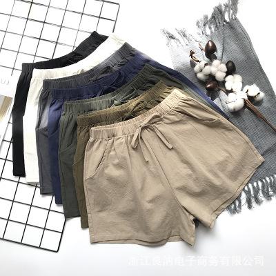 Sommer Shorts Frauen Leinen Shorts feminino frauen Elastische Taille Lose Beiläufige Shorts plus größe mit Tasche