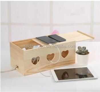 hoem storage & organization use wooden cable management box Cute Organizer Box