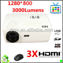 wireless home cinema 3000 Lumens Android 4.0 HD LED Projector Support, WiFi 3D 16: 9 Wide Screen Projector