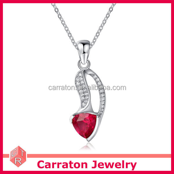 2015 fashionable 925 sterling silver triangle shape ruby stone pendant