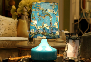 New Arrival Glass Table Lamp Clear Glass Base With Fabric Shade Hold-up Vessel Table Lights