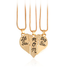 Mother 's Day gift Europe and the United States jewelry big sis mom three Stitching love pendant necklace