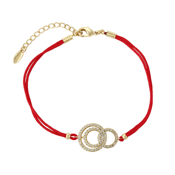 75571xuping simple design good lucky red rope 14k gold bracelet jewelry