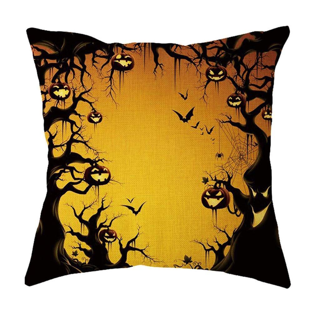 Yihaojia Happy Halloween Home Decor Office Sofa Geometric Design Cushion Square Throw Pillow Co (B)