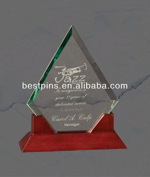 Crystal Medal Trophy On Wooden Base,Custom Beveled Glass Trophy ...