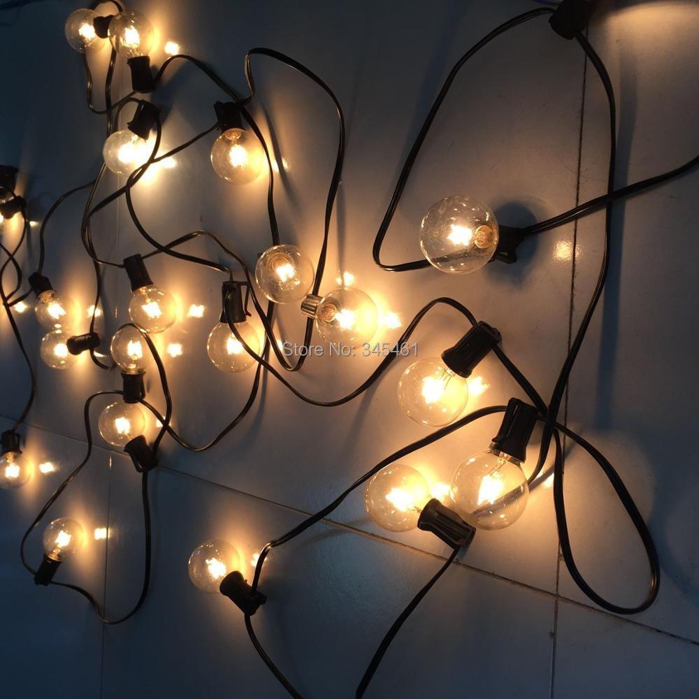 50ft Globe String Lights G50 50 Clear Globe Bulbs 220 110v