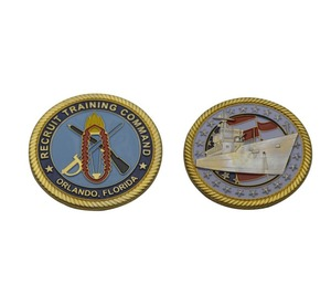 Cheap custom rope edge 3D challenge coins metal replica double coin