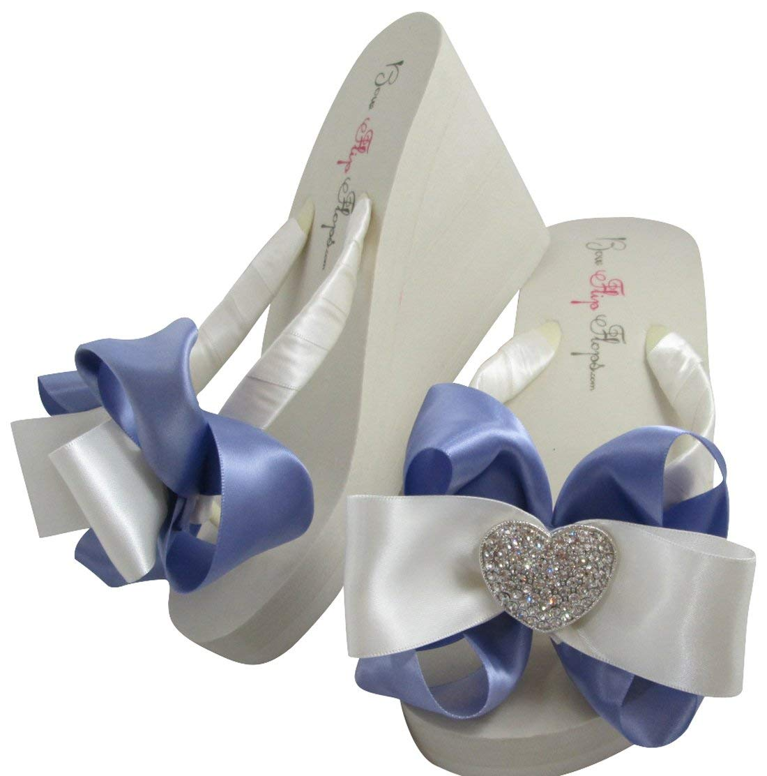 Lilac & Ivory Heart Wedding Flip Flops, Wedges with Rhinestone Satin Bows