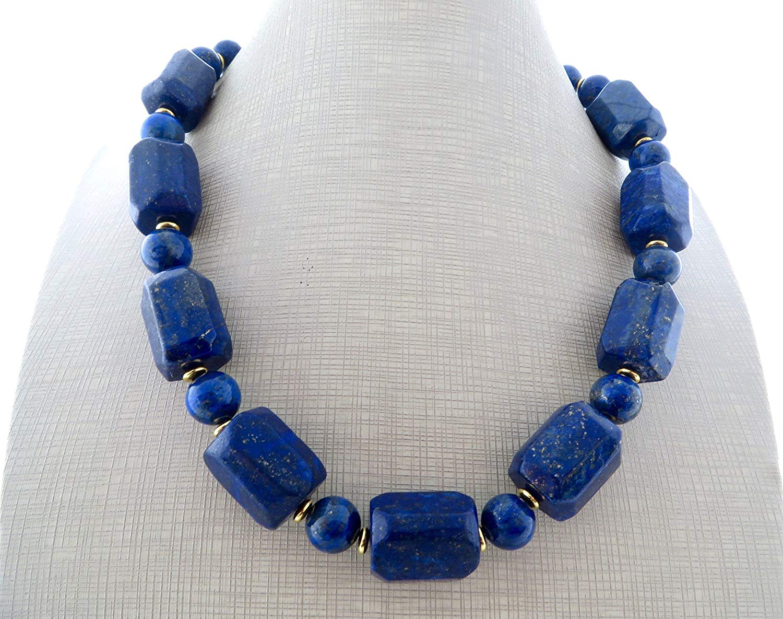 Lapis lazuli necklace, chunky necklace, big bold necklace, blue gemstone choker, statement jewelry, stone jewelry, wedding jewelry