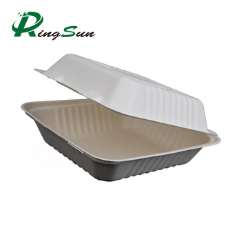 100% Biodegradable sugarcane pulp Lunch disposable Box bagasse food container disposable clamshell lunch box