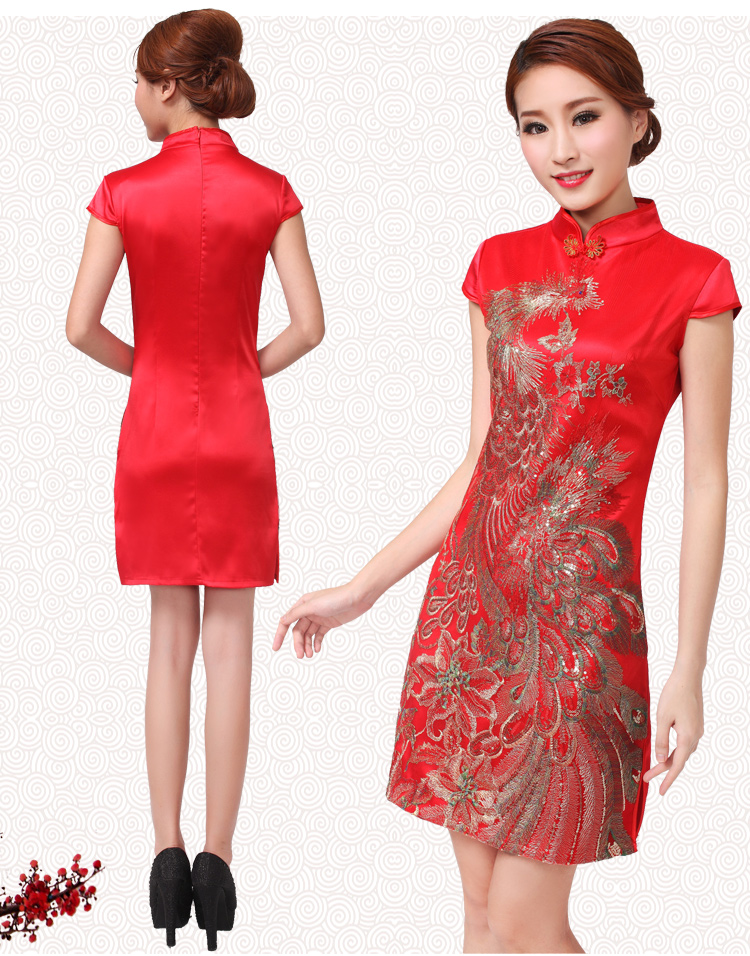 Retro Satin Bride Xl Short Sleeved Short Wedding Dress Red Wedding Cheongsam Chinese Wedding Qipao For Women