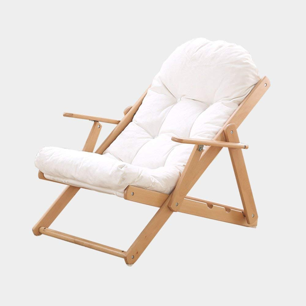 Rocking Chairs MEIDUO Reclining Garden Chair Beach Sun Lounger Recliner Chairs with 3 adjustable positions (Color : White, Size : Chair)