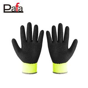 10G brushed winter black latex coated gloves