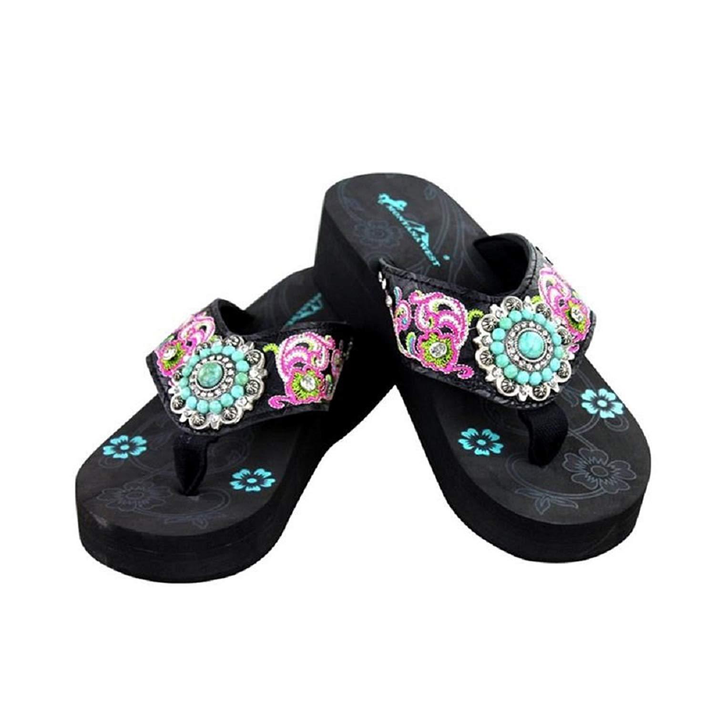 9c1d51cc4 Montana West Rhinestone Turquoise Concho Flip Flops Sandals Shoes Jp Black  Pink