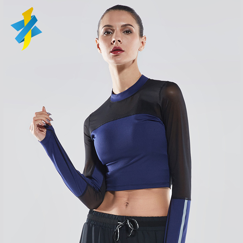 2018 long sleeveless fitness zippers shirts high quality womens gym wear workout clothing yoga wear