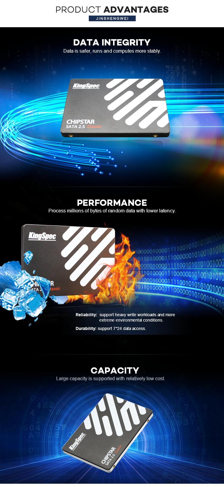 KingSpec Alta Affidabilità di Stoccaggio SATA da 2.5 pollici SATA3 ssd da 64 GB 128 GB 256 GB 512 GB SATA hard disk SSD disco