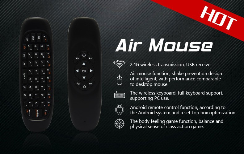 Professional Minix neo A3 Wireless air fly mouse remote c120 Bluetooth 4.0 Keyboard with Voice C120