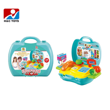 Kids supermarket vegetable play set toy cashier suitcase set for sale cheap HC355877