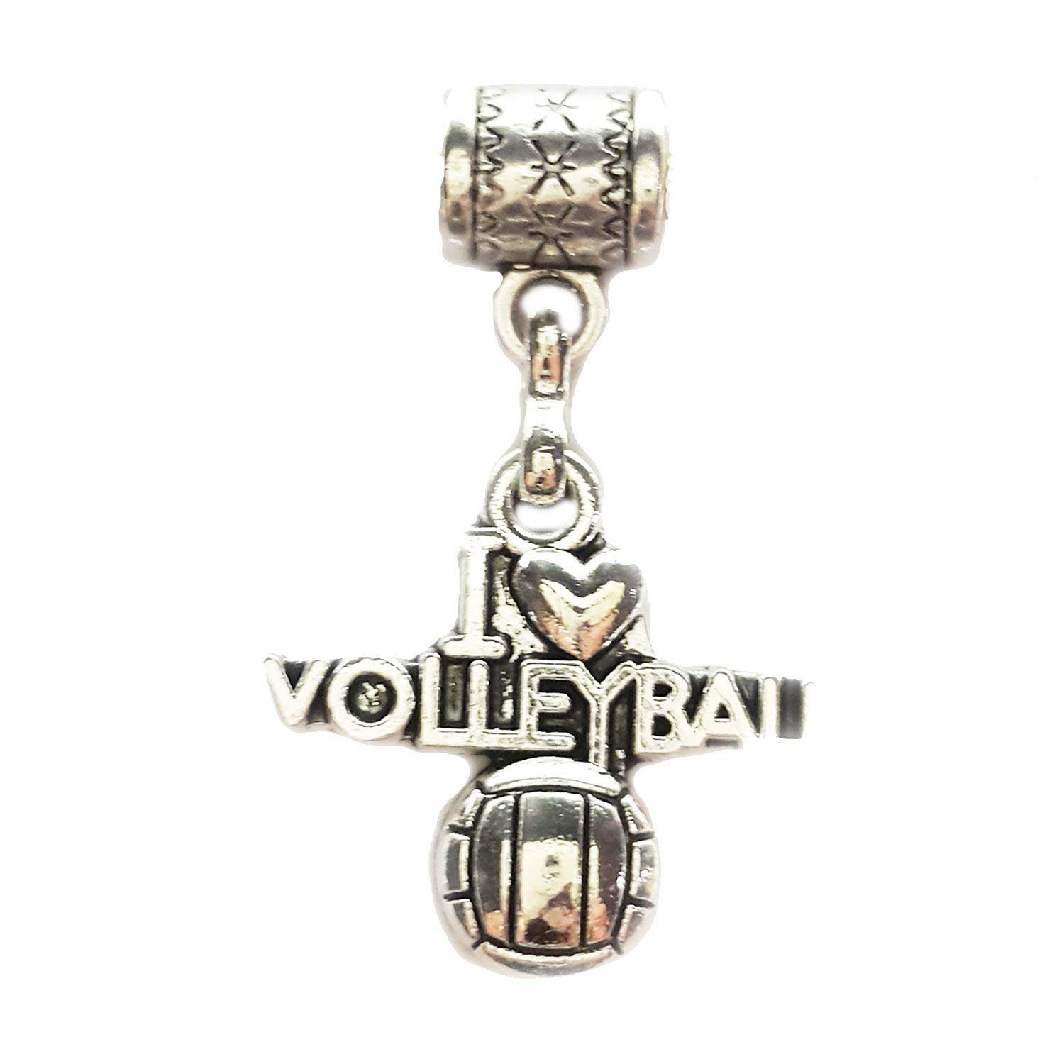 """I Love Volleyball charm"" is a Tibetan Silver Hanging charm by Mossy Cabin for large hole snake chain charm bracelets, or add to key chains, pendant necklaces or neck chains"