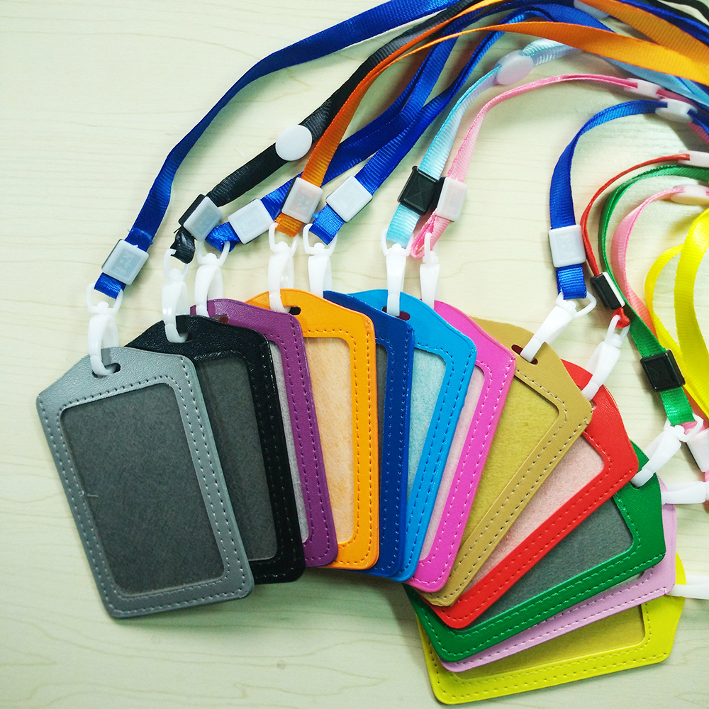 Bank Credit Card Holders women men PU Leather Neck Strap Card Bus ID holders  candy color Identity badge lanyard wholesale PY013 070b258be