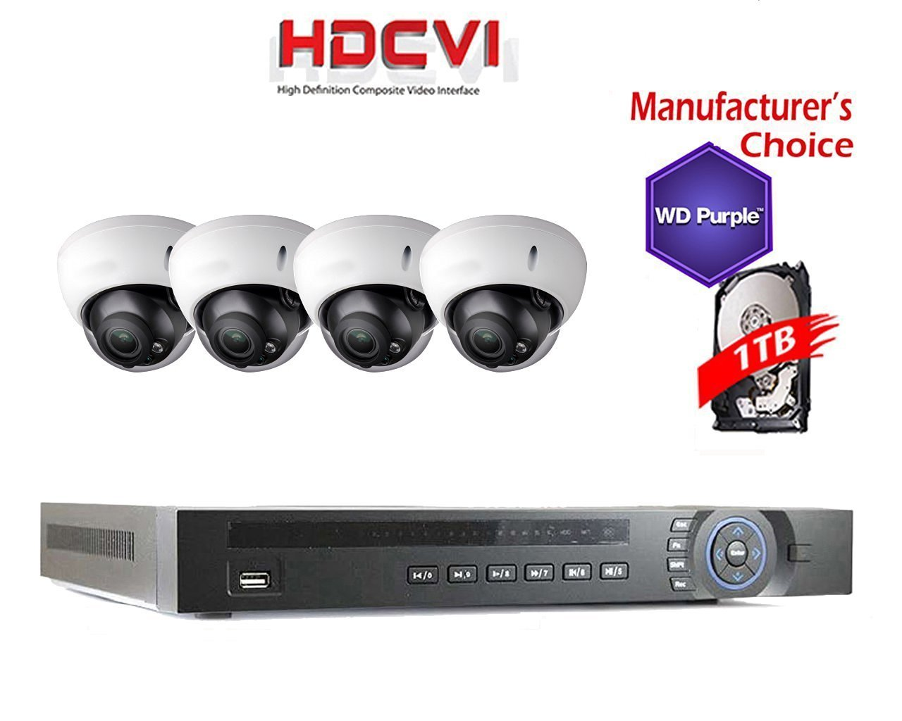iCare 1080P Package: 4 Channel HDCVI + 4x 2MP IR Camera with 1TB WD Purple HDD Pre-installed, 2 years warranty, Local US Support