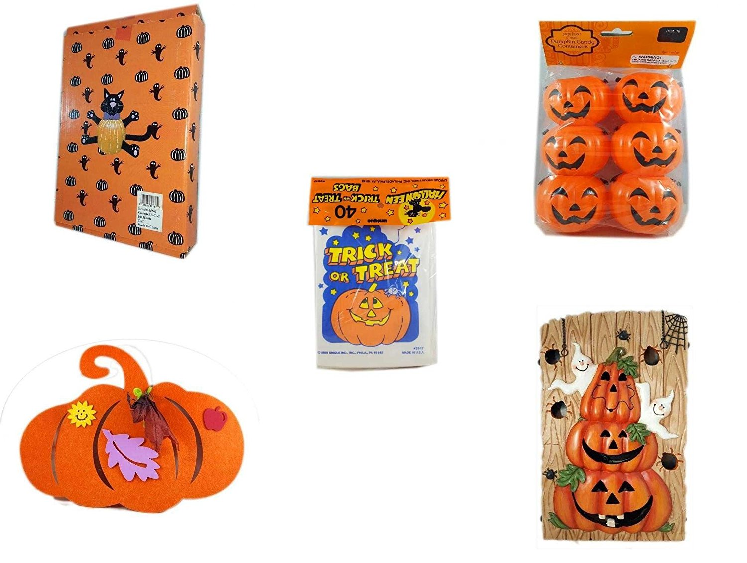 Halloween Fun Gift Bundle [5 piece] - Halloween Cat Pumpkin Push In 5 Piece Head Arms Legs - Party Favors Pumpkin Candy Containers 6 Count - Halloween Trick or Treat Bags 40/ct - Halloween Felt Pump