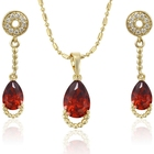 Anniversary Jewelry Plated Jewellery 63980 Xuping Zircon Fashion Dubai Plated Gold Latest Beautiful Cheap Ruby Jewelry Set Artificial American Diamond Jewellery Sets