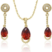 63980 xuping zircon fashion dubai plated gold latest beautiful cheap ruby jewelry set+artificial american diamond jewellery sets