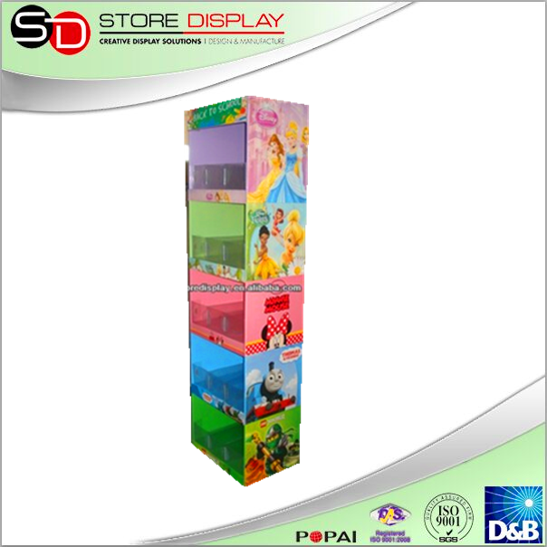 Point of purchase recycling retail enviroment 2 sides compartment cardboard display for school supplies