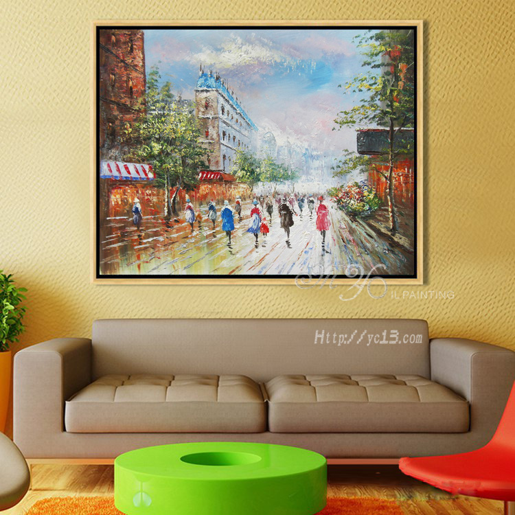 Arte de pared de salón decoración de Casa de la calle de París arte ...